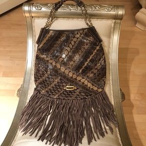 Jimmy Choo Snakeskin 'Tatum' Fringe Shoulder Bag